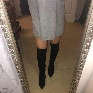 Zara over the knee suede elastic boots